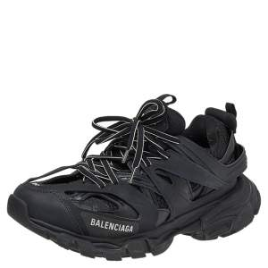 Balenciaga Black Leather And Mesh Track Trainers Sneakers Size 39