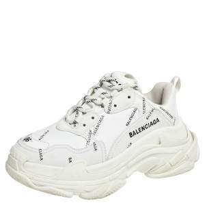 Balenciaga White Leather Triple S All Over Logo Low Top Sneakers Size 36
