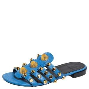 Balenciaga Blue Leather Arena Studded Strappy Flats Size 38.5