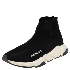 Balenciaga Black Knit Fabric Speed High Top Sneakers 41