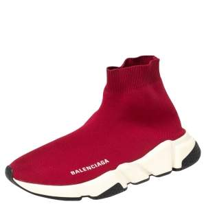 Balenciaga Red Knit Fabric Speed Trainer High Top Sneakers Size 38