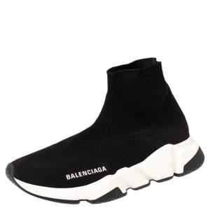 حذاء رياضي بالنسياغا سبيد ترينر قماش تريكو أسود بعنق مرتفع مقاس 37