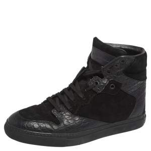 Balenciaga Black Croc Embossed Leather, Suede High Top  Sneakers Size 39