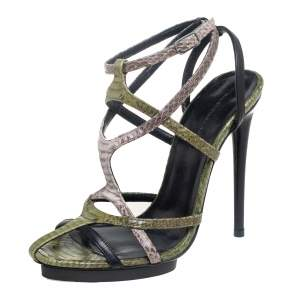 Balenciaga Tricolor Snakeskin and Leather Strappy Platform Sandals Size 38