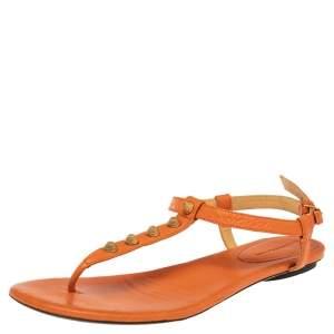Balenciaga Orange Leather RH Thong Sandals Size 40.5