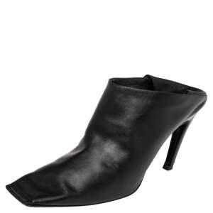 Balenciaga Black Leather Quadro Square Toe Foldable Heel Mules Size 38