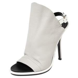 Balenciaga Silver Leather Glove Slingback Sandals Size 37