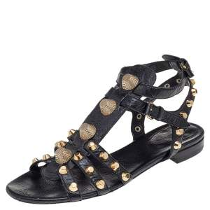Balenciaga Black Leather Studded Ankle Strap Flat Sandals Size 41