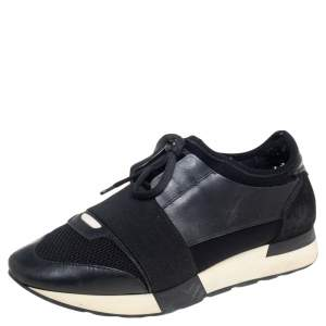 Balenciaga Black Leather And Mesh Race Runner Sneakers Size 38