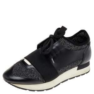 Balenciaga Black/Silver Leather And Knit Fabric Race Runner Low Top Sneakers Size 37