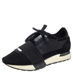 Balenciaga Black Leather And Mesh Race Runner Sneakers Size 35