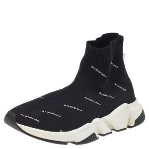 Balenciaga Black Logo Print Knit Fabric Speed Trainer High Top Sneakers Size 38
