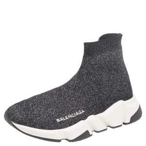 Balenciaga Black/Silver Glitter Knit Fabric Speed Trainer Sneakers Size 35