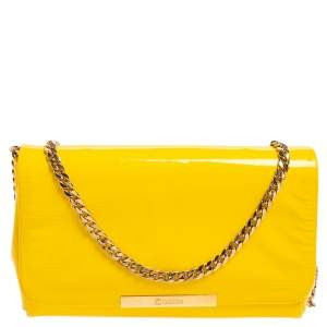 Ballin Yellow Patent Leather Chain Clutch