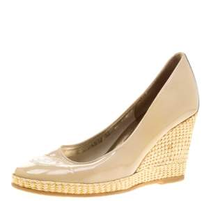 Ballin Beige Patent Leather Kintted Wedge Pumps Size 38