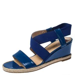 Ballin Blue Patent Leather And Canvas Espadrille Wedge Slingback Sandals Size 38