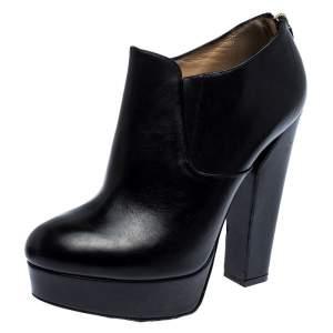 Ballin Black Leather Platform Ankle Booties Size 38 CM