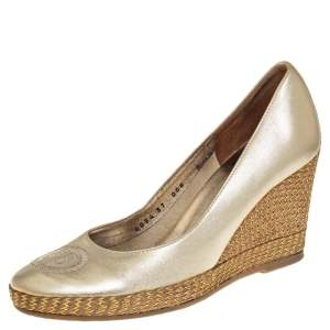 Ballin Gold Leather BB Embroidered Wedge Pumps Size 37