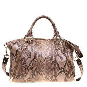 Bally Beige Python Top Handle Bag