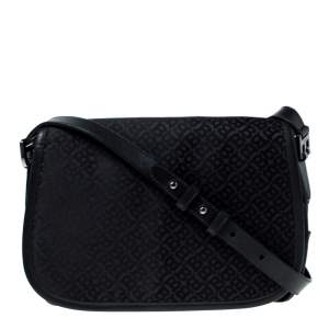 Bally Black Monogram Canvas and Leather Flap Shoulder Bag