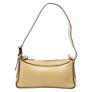 Bally Light Yellow Leather Zip Shoulder Bag