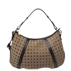 Bally Beige/Brown Canvas and Leather Hobo