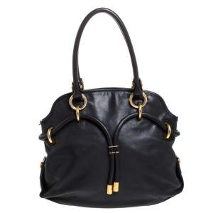 Bally Black Leather Drawstring Tote