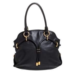 حقيبة بالي جلد أسود برباط