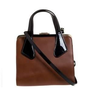 حقيبة بالي يد علوية إطار جلد لامعة وجلد سوداء/ بنية