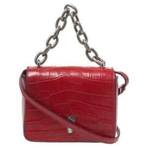 Bally Red Croc Embossed Leather Flap Shoulder Bag