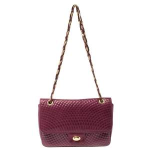Bally Purple Quilted Leather Double Flap Chain Bag