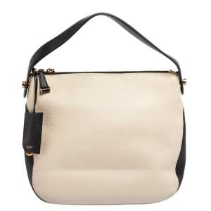 Bally Cream/Black Leather Fiona Crossbody Bag