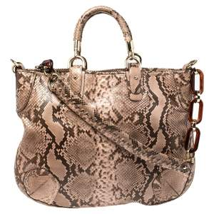 Bally Dusty Pink/Black Python Jana Shoulder Bag