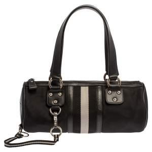 Bally Black Nylon and Leather Boston Bag