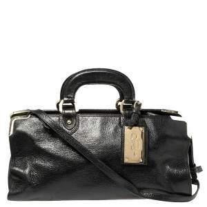 Bally Shimmery Black Leather Satchel