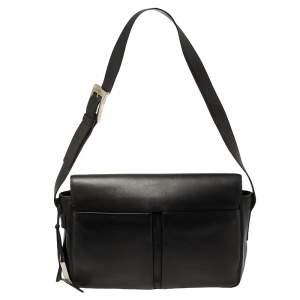 Bally Black Leather Double Pocket Flap Shoulder Bag