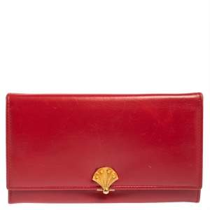 Bally Red Leather Flap Continental Wallet