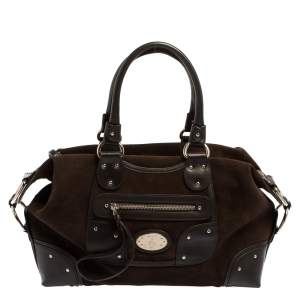 Bally Brown Suede and Leather Zip Pocket Satchel
