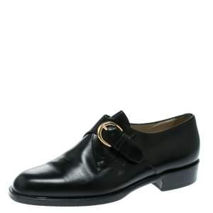 Bally Black Leather Monk Strap Flats Size 37