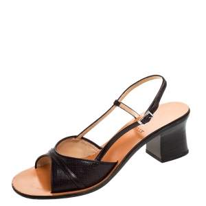Bally Brown Embossed Leather Slingback Block Heel Sandals Size 38