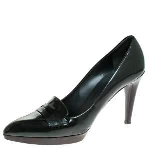 حذاء كعب عالي بالي جلد أخضر داكن مقدمة مدببة مقاس 40