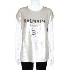 Balmain Pale Gold Sequined Logo Top S