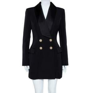Balmain Black Double Beasted Wool Blazer Dress M