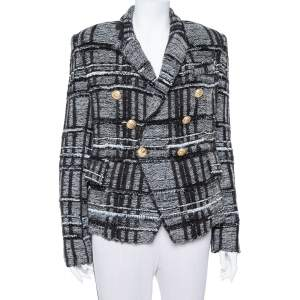 Balmain Monochrome Lurex Unstructured Tweed Double Breasted Blazer M