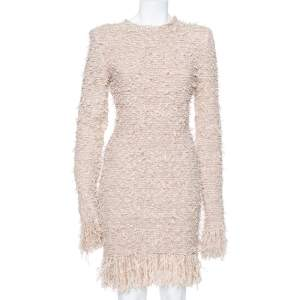 Balmain Beige Lurex Knit Frayed Long Sleeve Fitted Dress M