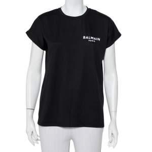 Balmain Black Logo Printed Cotton Crewneck Oversized T-Shirt XS