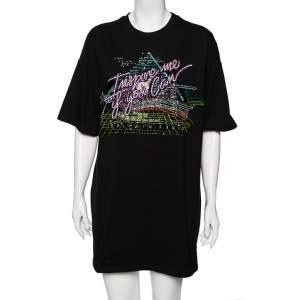 Balmain Black Cotton Embellished Oversized Round Neck T-Shirt S