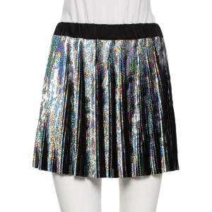 Balmain Iridescent Holographic Synthetic Pleated Mini Skirt S