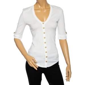 Balmain White Cotton Button Front V-Neck Half Sleeve T-Shirt S