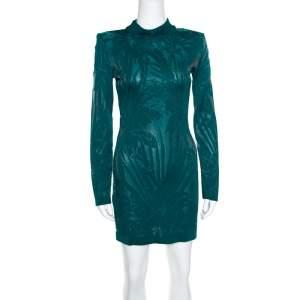 Balmain Green Floral Jacquard Knit High Neck Power Shoulder Mini Dress M